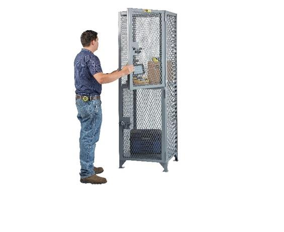 ALL-WELDED TWO COMPARTMENT COMPACT STORAGE LOCKER